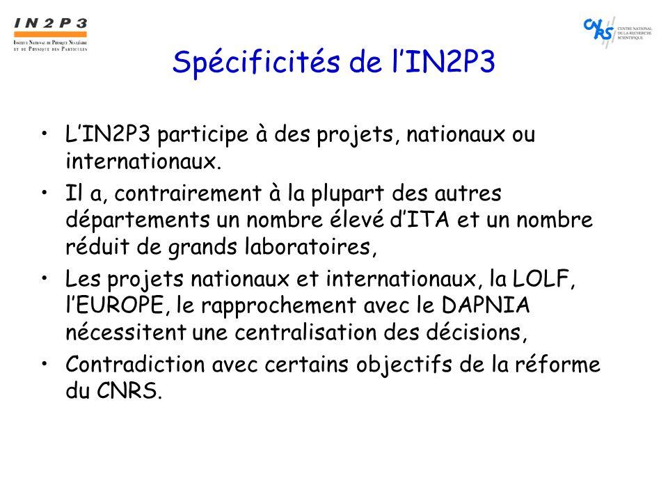 Spécificités de l'IN2P3 •L'IN2P3 participe à des projets, nationaux ou internationaux.