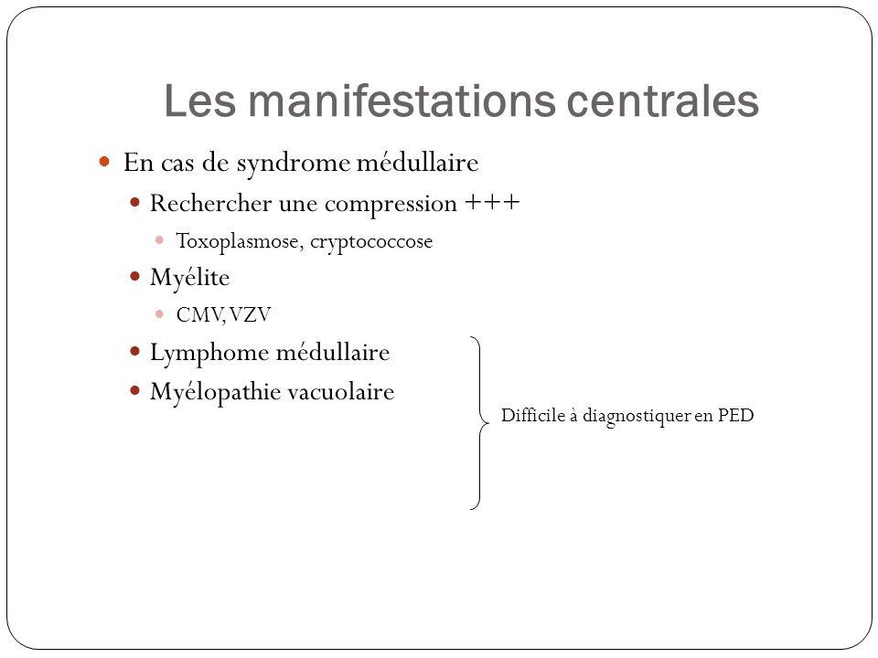 Les manifestations centrales  En cas de syndrome médullaire  Rechercher une compression +++  Toxoplasmose, cryptococcose  Myélite  CMV, VZV  Lym