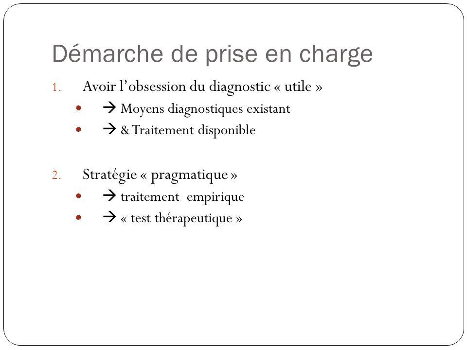 Démarche de prise en charge 1. Avoir l'obsession du diagnostic « utile »   Moyens diagnostiques existant   & Traitement disponible 2. Stratégie «