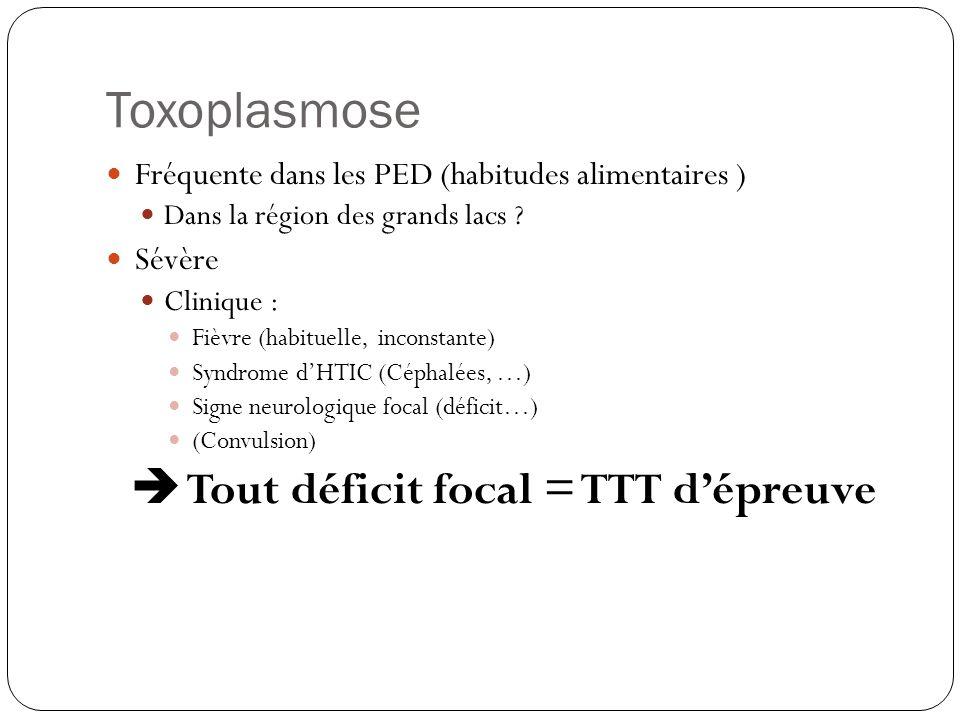 Toxoplasmose cérébrale Parasite « Réactivation » au niveau cérébral Fréquence +++ CD4 < 100 mm3 Symptomatologie: subaigu (jours / semaines) - encéphalite + modification comportement, céphalées - 50% cas: signes localisation (hémiparésies, crises convulsives, ataxie) <50% cas: fièvre Diagnostique: -suspicion clinique - sérologies peu utiles - PCR : 50-60% sensibilité, 100% de spécificité - critères radiologiques +++ (scanner )  TRAITEMENT D' EPREUVE