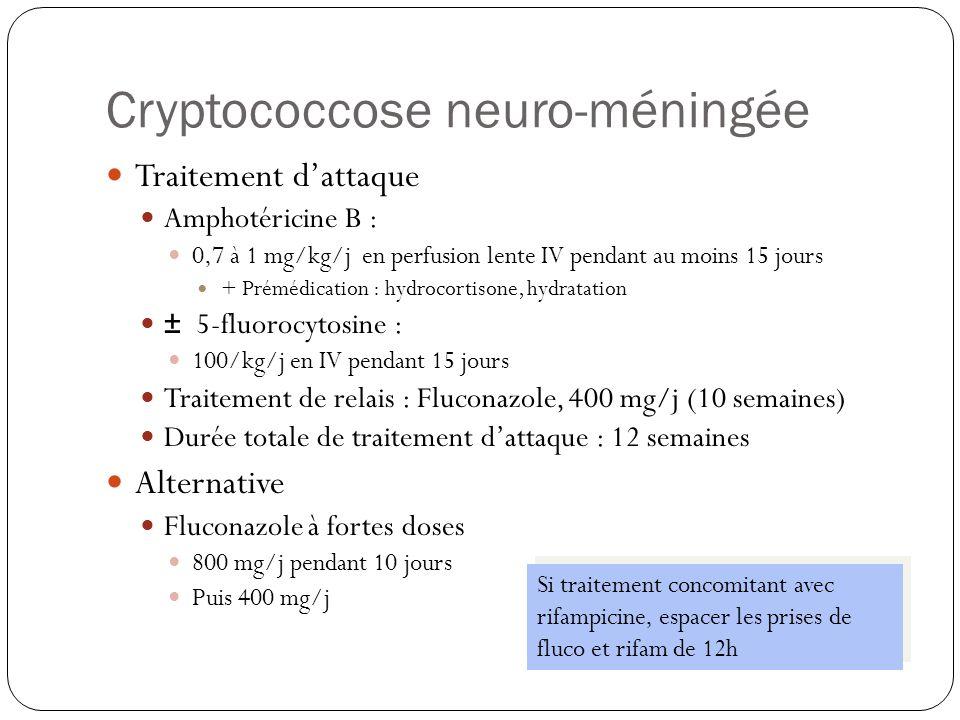 Cryptococcose neuro-méningée  Le traitement de l'HTIC  P LCR > 350 mm d'eau  Une ponction évacuatrice de 20-30 cm 3 /j  Jusqu'à  à 200 mm d'eau ou 50% valeur initiale  200 < P LCR < 350 mm d'eau  Deux ponctions/semaine