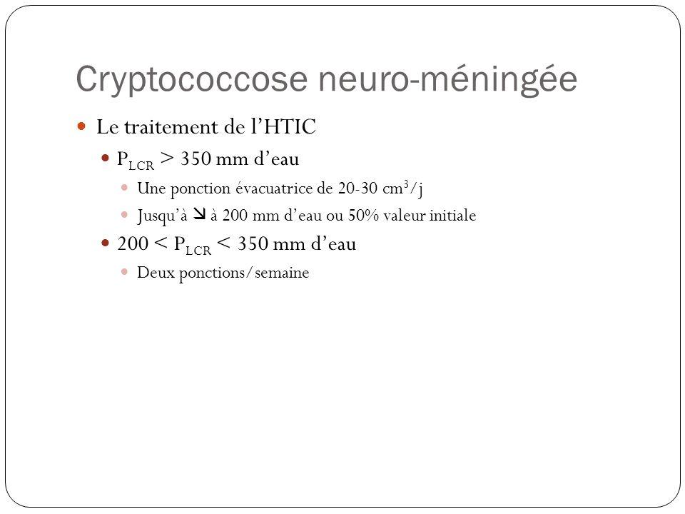 Cryptococcose neuro-méningée  Le traitement de l'HTIC  P LCR > 350 mm d'eau  Une ponction évacuatrice de 20-30 cm 3 /j  Jusqu'à  à 200 mm d'eau o