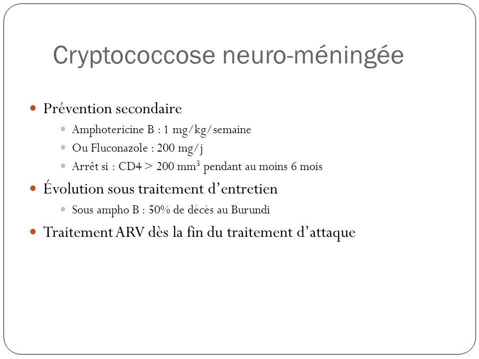 Cryptococcose neuro-méningée  Prévention secondaire  Amphotericine B : 1 mg/kg/semaine  Ou Fluconazole : 200 mg/j  Arrêt si : CD4 > 200 mm 3 penda