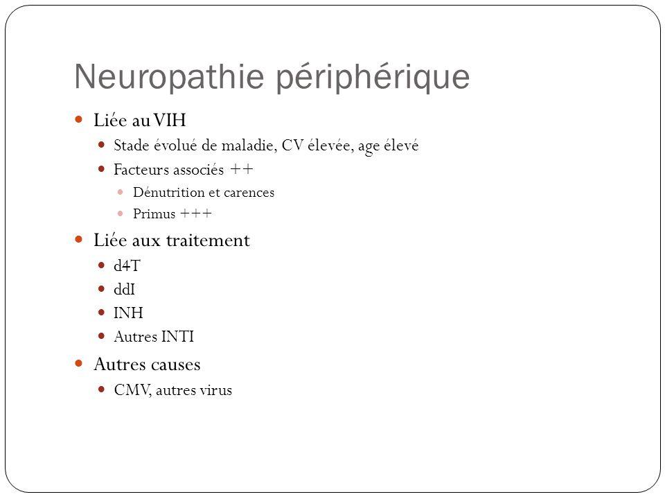 Neuropathie périphérique  Liée au VIH  Stade évolué de maladie, CV élevée, age élevé  Facteurs associés ++  Dénutrition et carences  Primus +++ 