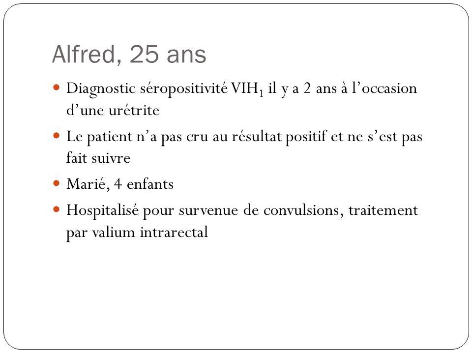 Alfred, 25 ans  Diagnostic séropositivité VIH 1 il y a 2 ans à l'occasion d'une urétrite  Le patient n'a pas cru au résultat positif et ne s'est pas