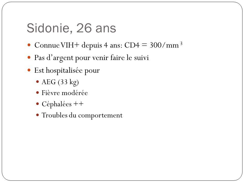 Sidonie, 26 ans  Connue VIH+ depuis 4 ans: CD4 = 300/mm 3  Pas d'argent pour venir faire le suivi  Est hospitalisée pour  AEG (33 kg)  Fièvre mod