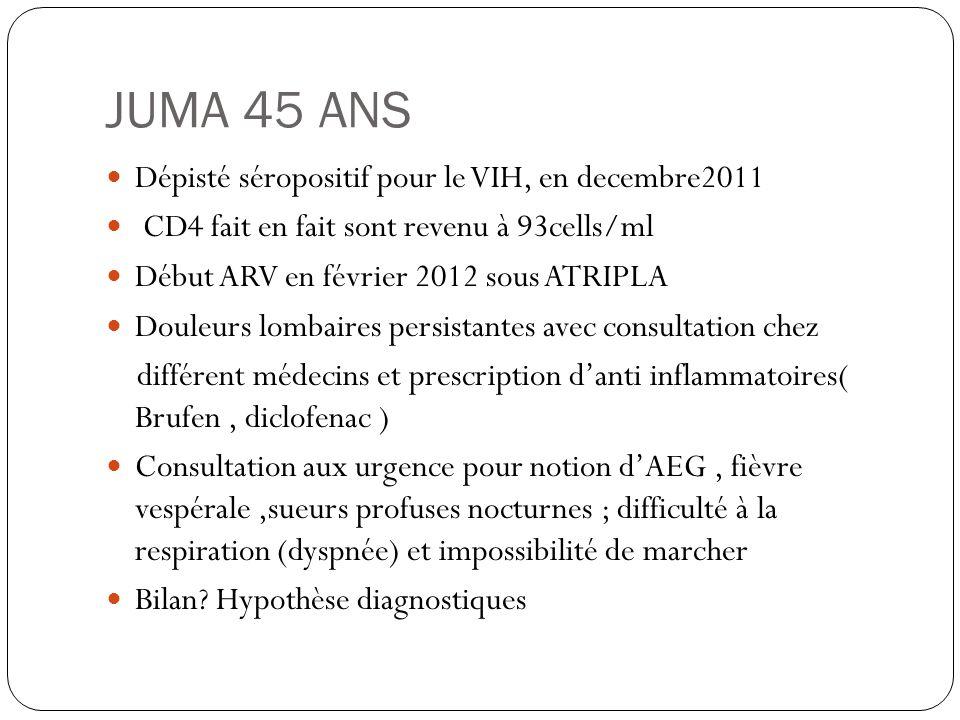 JUMA 45 ANS  Dépisté séropositif pour le VIH, en decembre2011  CD4 fait en fait sont revenu à 93cells/ml  Début ARV en février 2012 sous ATRIPLA 