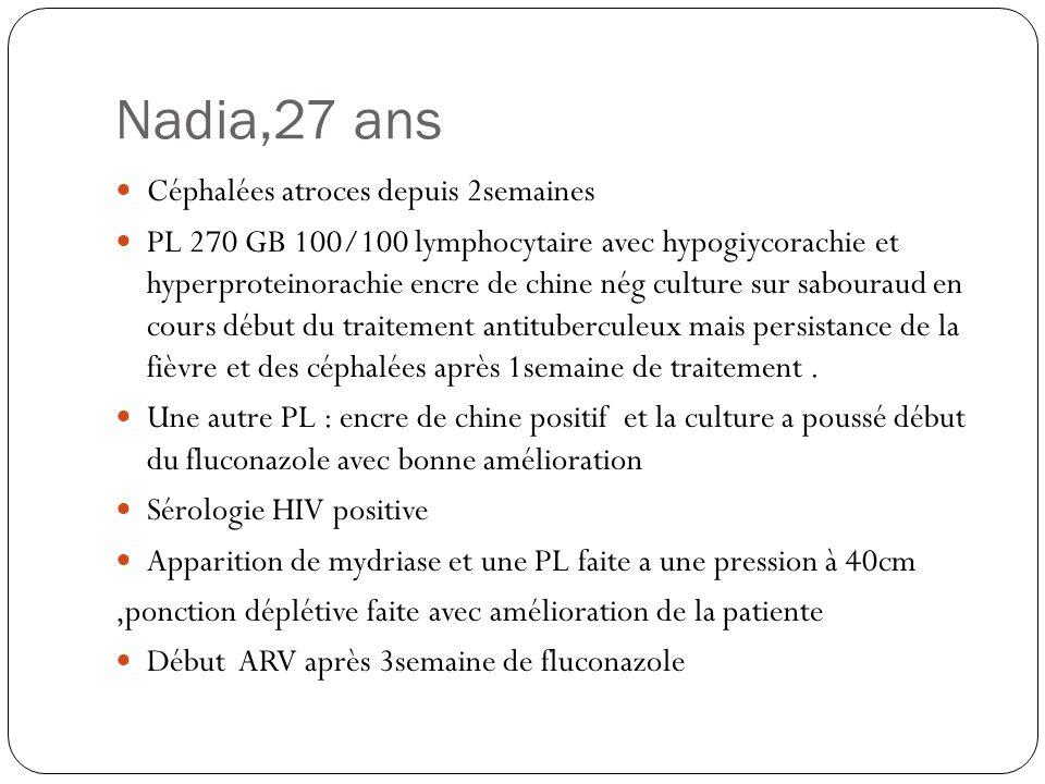 Nadia,27 ans  Céphalées atroces depuis 2semaines  PL 270 GB 100/100 lymphocytaire avec hypogiycorachie et hyperproteinorachie encre de chine nég cul