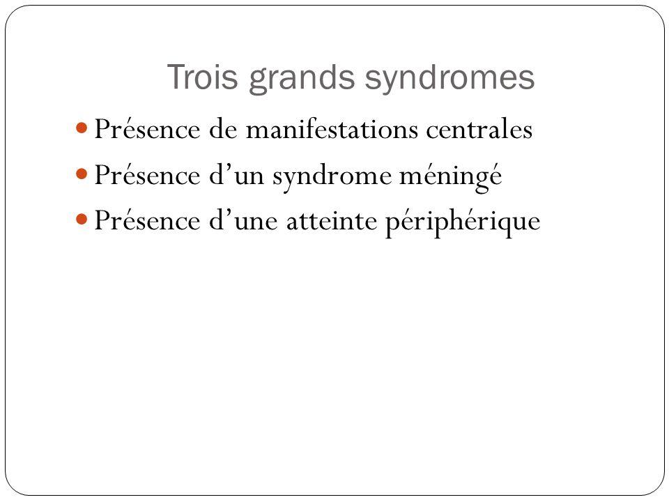 Trois grands syndromes  Présence de manifestations centrales  Présence d'un syndrome méningé  Présence d'une atteinte périphérique