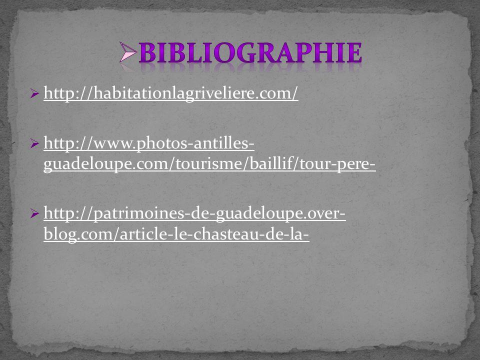  http://habitationlagriveliere.com/ http://habitationlagriveliere.com/  http://www.photos-antilles- guadeloupe.com/tourisme/baillif/tour-pere- http://www.photos-antilles- guadeloupe.com/tourisme/baillif/tour-pere-  http://patrimoines-de-guadeloupe.over- blog.com/article-le-chasteau-de-la- http://patrimoines-de-guadeloupe.over- blog.com/article-le-chasteau-de-la-