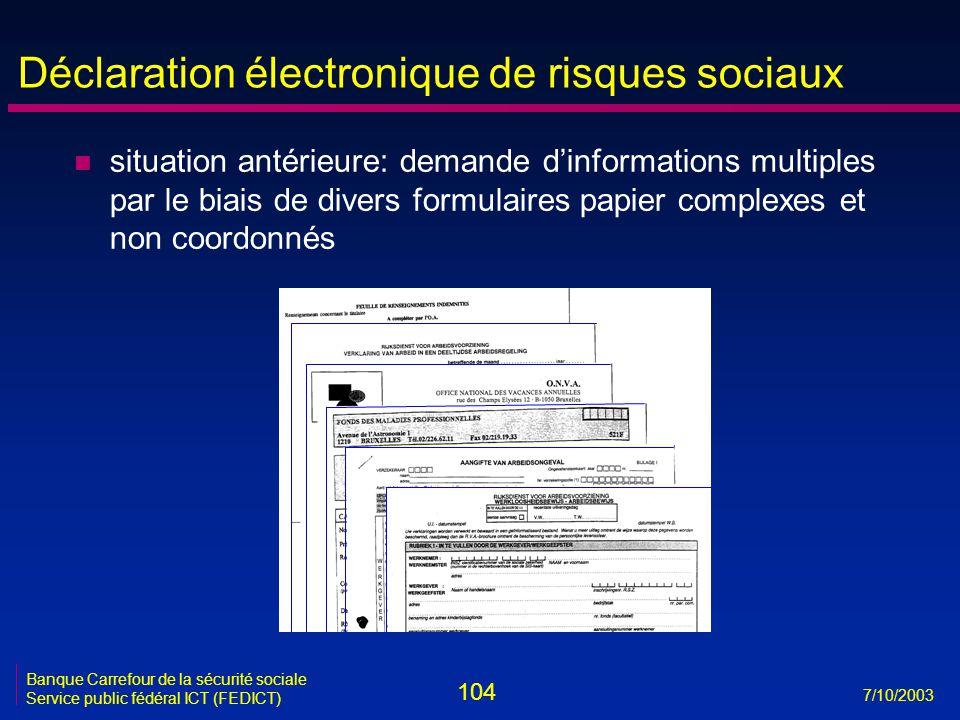 104 7/10/2003 Banque Carrefour de la sécurité sociale Service public fédéral ICT (FEDICT) Déclaration électronique de risques sociaux n situation anté