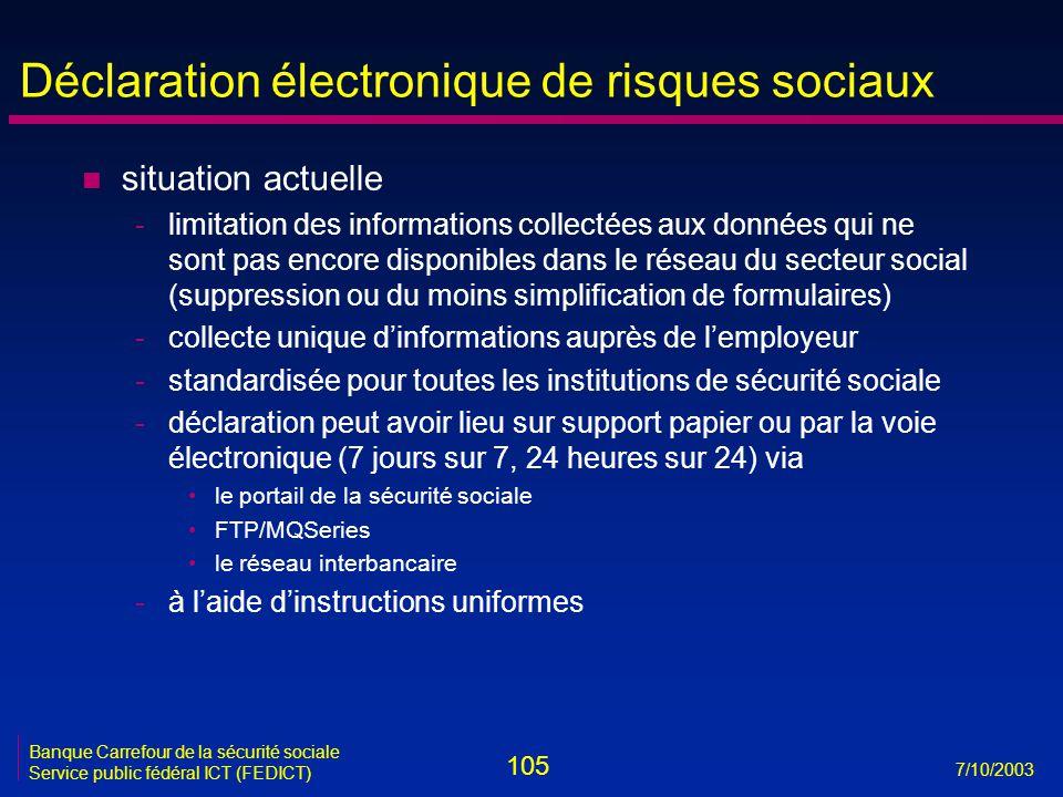105 7/10/2003 Banque Carrefour de la sécurité sociale Service public fédéral ICT (FEDICT) Déclaration électronique de risques sociaux n situation actu