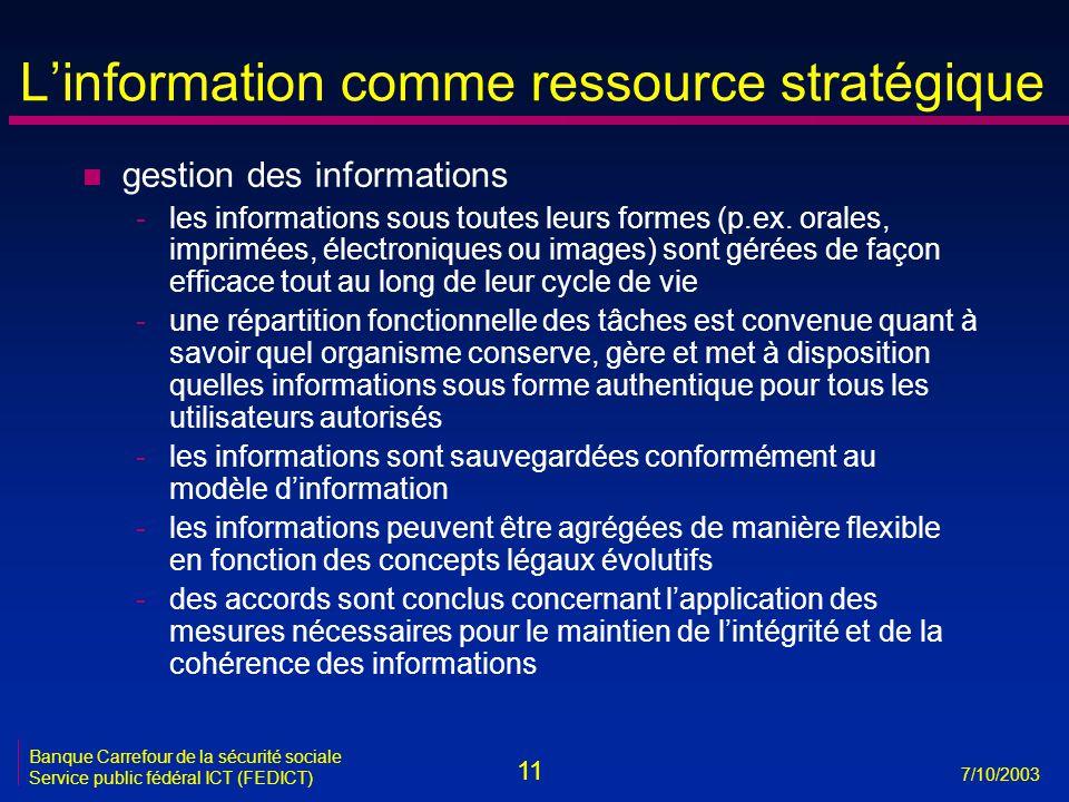 11 7/10/2003 Banque Carrefour de la sécurité sociale Service public fédéral ICT (FEDICT) L'information comme ressource stratégique n gestion des informations -les informations sous toutes leurs formes (p.ex.