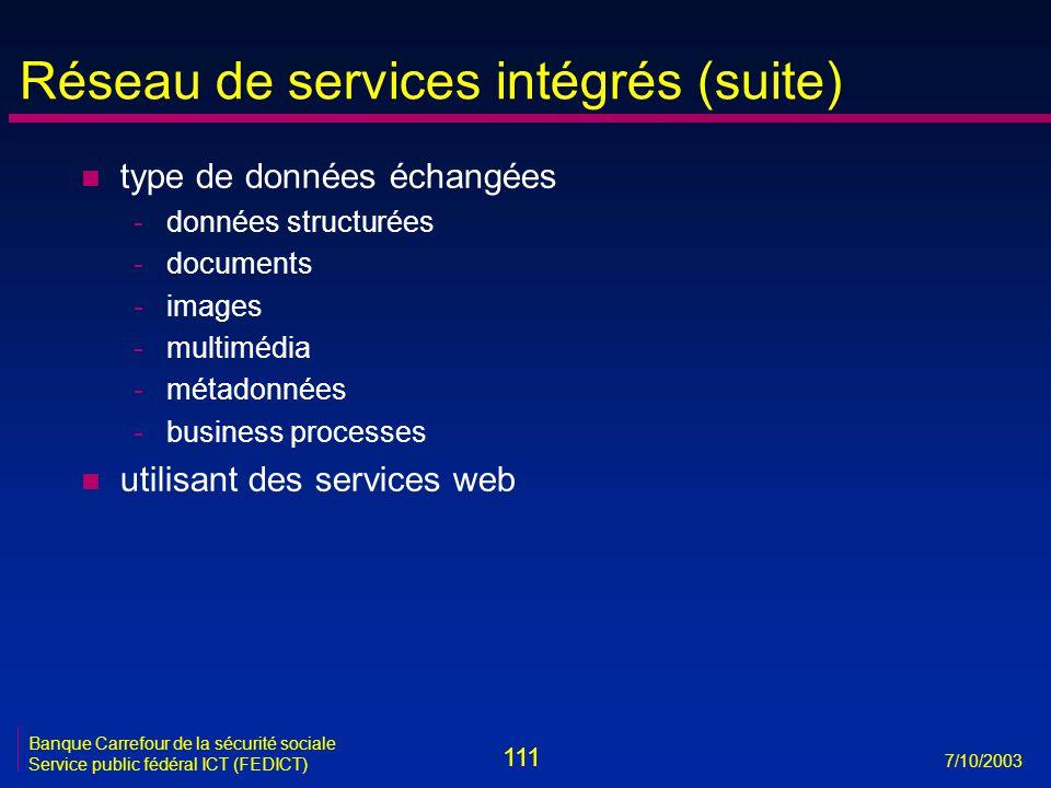 111 7/10/2003 Banque Carrefour de la sécurité sociale Service public fédéral ICT (FEDICT) Réseau de services intégrés (suite) n type de données échangées -données structurées -documents -images -multimédia -métadonnées -business processes n utilisant des services web