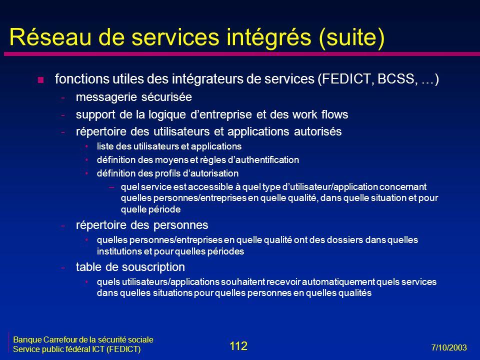 112 7/10/2003 Banque Carrefour de la sécurité sociale Service public fédéral ICT (FEDICT) Réseau de services intégrés (suite) n fonctions utiles des i