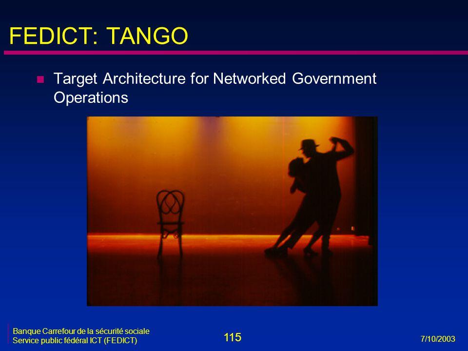 115 7/10/2003 Banque Carrefour de la sécurité sociale Service public fédéral ICT (FEDICT) FEDICT: TANGO n Target Architecture for Networked Government Operations
