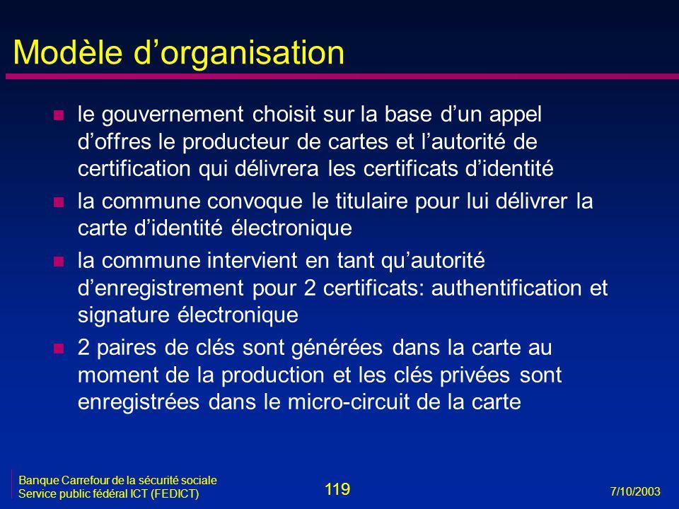 119 7/10/2003 Banque Carrefour de la sécurité sociale Service public fédéral ICT (FEDICT) Modèle d'organisation n le gouvernement choisit sur la base