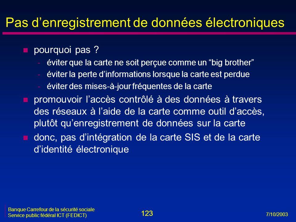 123 7/10/2003 Banque Carrefour de la sécurité sociale Service public fédéral ICT (FEDICT) Pas d'enregistrement de données électroniques n pourquoi pas