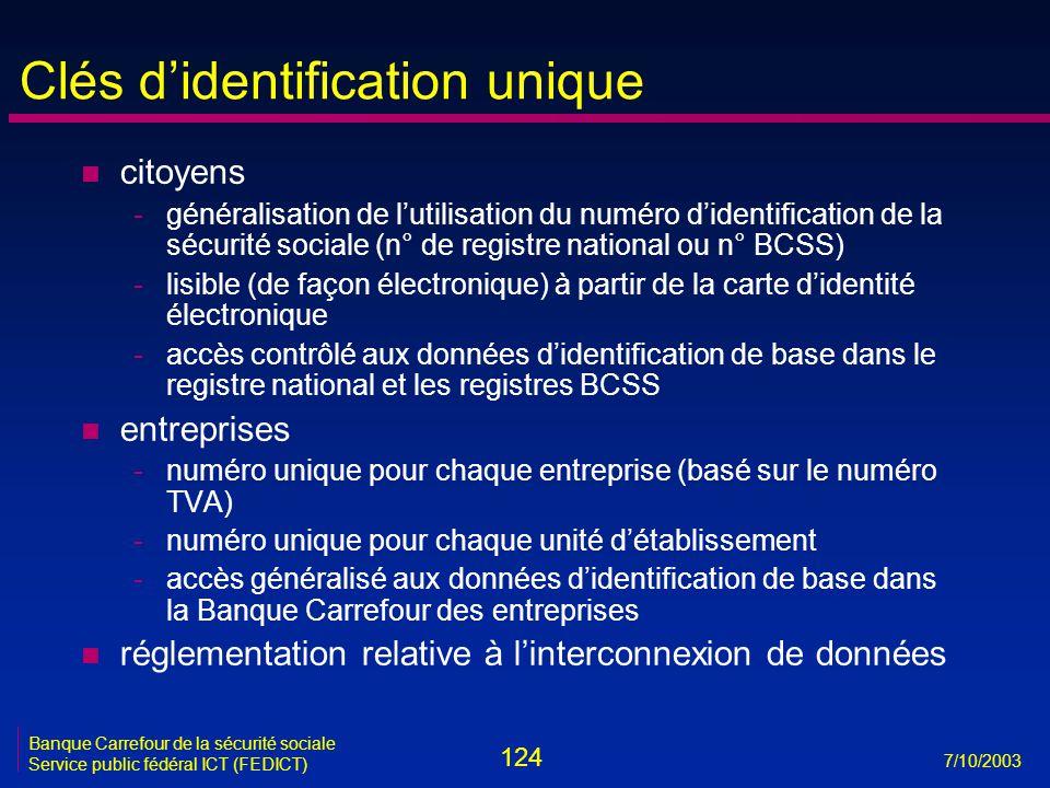 124 7/10/2003 Banque Carrefour de la sécurité sociale Service public fédéral ICT (FEDICT) Clés d'identification unique n citoyens -généralisation de l'utilisation du numéro d'identification de la sécurité sociale (n° de registre national ou n° BCSS) -lisible (de façon électronique) à partir de la carte d'identité électronique -accès contrôlé aux données d'identification de base dans le registre national et les registres BCSS n entreprises -numéro unique pour chaque entreprise (basé sur le numéro TVA) -numéro unique pour chaque unité d'établissement -accès généralisé aux données d'identification de base dans la Banque Carrefour des entreprises n réglementation relative à l'interconnexion de données