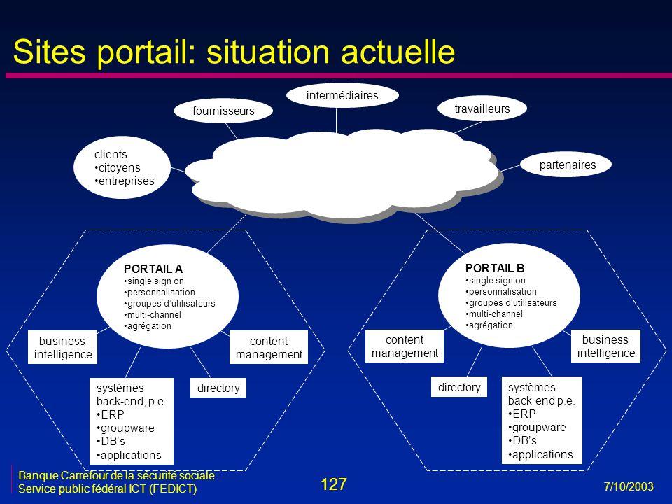 127 7/10/2003 Banque Carrefour de la sécurité sociale Service public fédéral ICT (FEDICT) Sites portail: situation actuelle clients •citoyens •entrepr