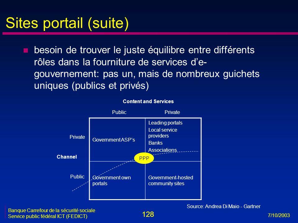 128 7/10/2003 Banque Carrefour de la sécurité sociale Service public fédéral ICT (FEDICT) Sites portail (suite) n besoin de trouver le juste équilibre