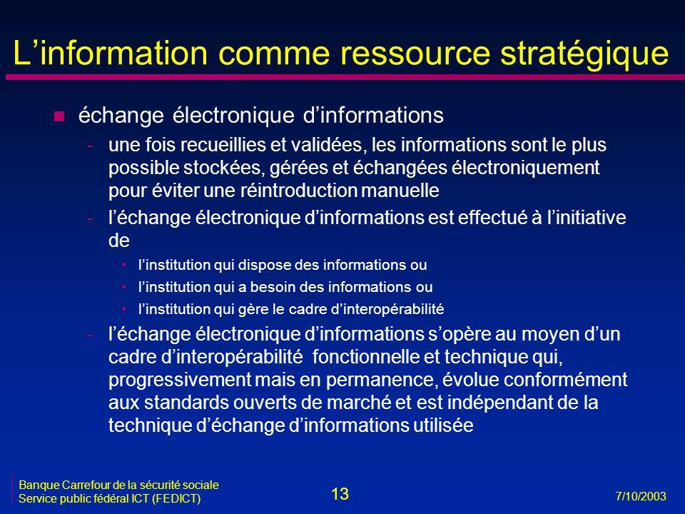 13 7/10/2003 Banque Carrefour de la sécurité sociale Service public fédéral ICT (FEDICT) L'information comme ressource stratégique n échange électroni