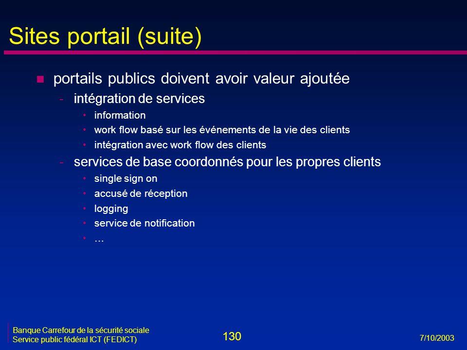 130 7/10/2003 Banque Carrefour de la sécurité sociale Service public fédéral ICT (FEDICT) Sites portail (suite) n portails publics doivent avoir valeu