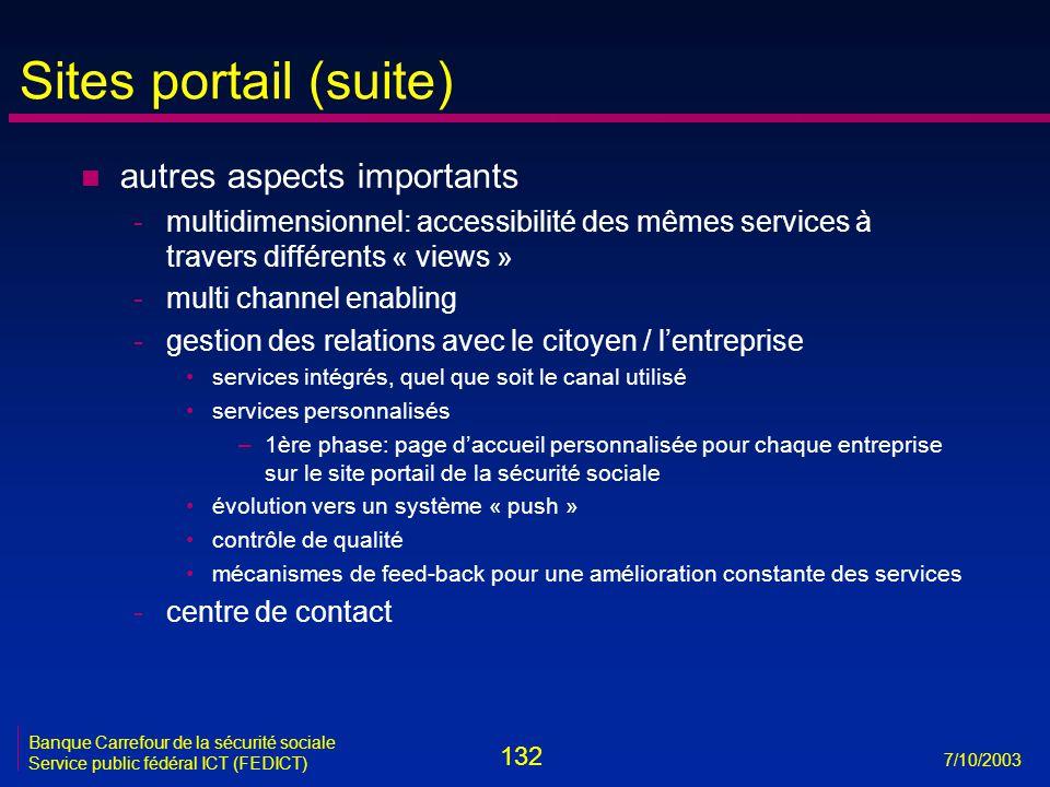 132 7/10/2003 Banque Carrefour de la sécurité sociale Service public fédéral ICT (FEDICT) Sites portail (suite) n autres aspects importants -multidime