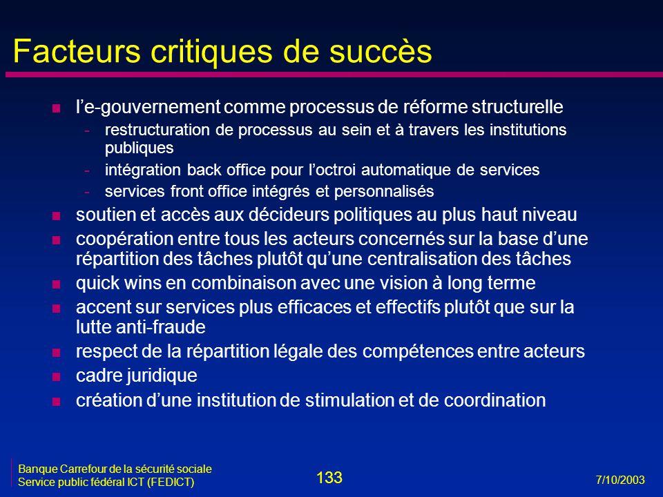 133 7/10/2003 Banque Carrefour de la sécurité sociale Service public fédéral ICT (FEDICT) Facteurs critiques de succès n l'e-gouvernement comme proces
