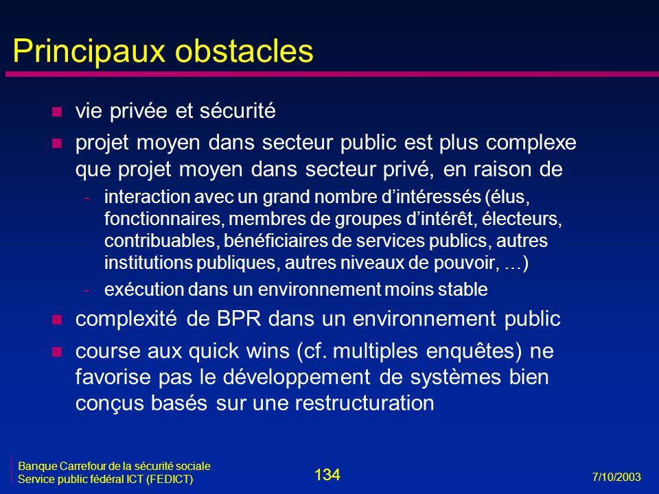 134 7/10/2003 Banque Carrefour de la sécurité sociale Service public fédéral ICT (FEDICT) Principaux obstacles n vie privée et sécurité n projet moyen