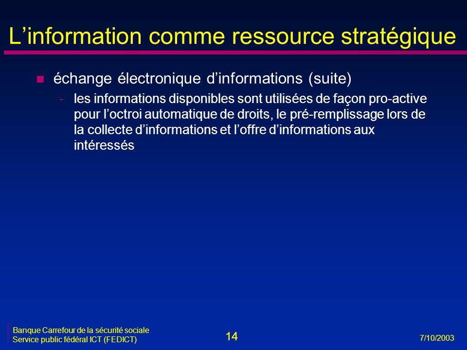 14 7/10/2003 Banque Carrefour de la sécurité sociale Service public fédéral ICT (FEDICT) L'information comme ressource stratégique n échange électronique d'informations (suite) -les informations disponibles sont utilisées de façon pro-active pour l'octroi automatique de droits, le pré-remplissage lors de la collecte d'informations et l'offre d'informations aux intéressés