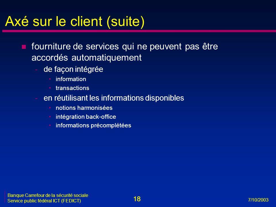 18 7/10/2003 Banque Carrefour de la sécurité sociale Service public fédéral ICT (FEDICT) Axé sur le client (suite) n fourniture de services qui ne peu