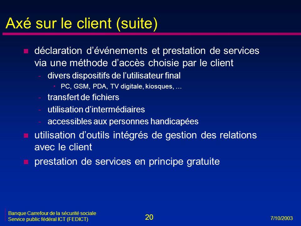 20 7/10/2003 Banque Carrefour de la sécurité sociale Service public fédéral ICT (FEDICT) Axé sur le client (suite) n déclaration d'événements et prest