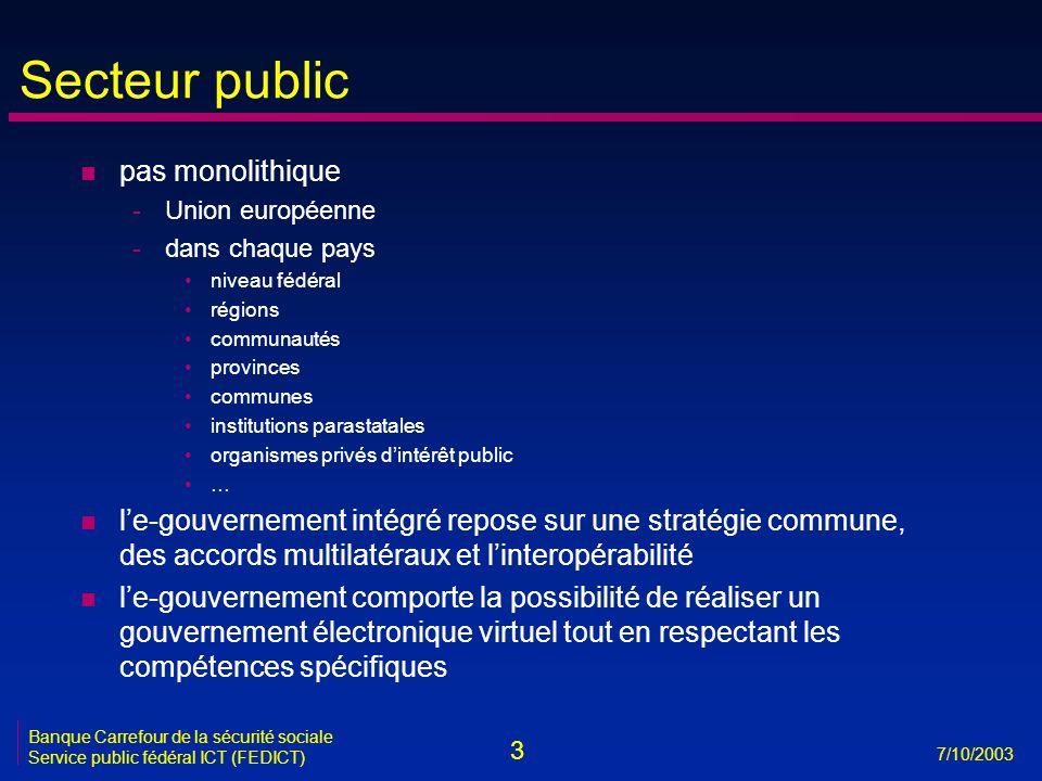 3 7/10/2003 Banque Carrefour de la sécurité sociale Service public fédéral ICT (FEDICT) Secteur public n pas monolithique -Union européenne -dans chaq