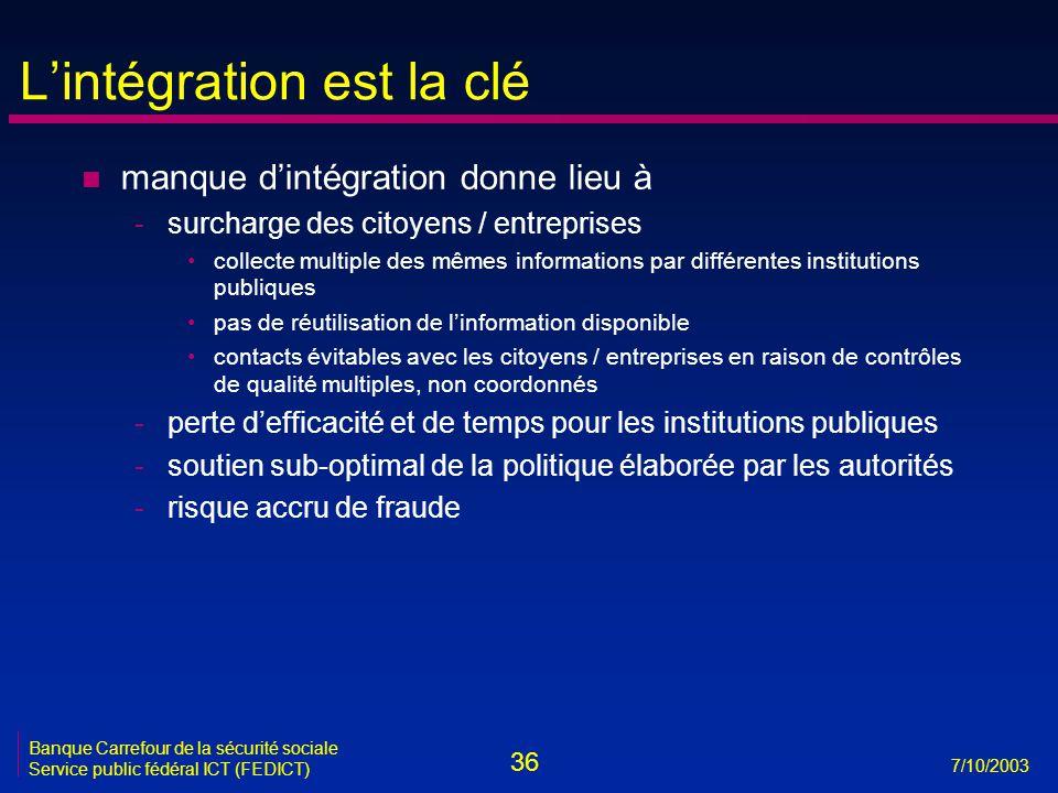 36 7/10/2003 Banque Carrefour de la sécurité sociale Service public fédéral ICT (FEDICT) L'intégration est la clé n manque d'intégration donne lieu à