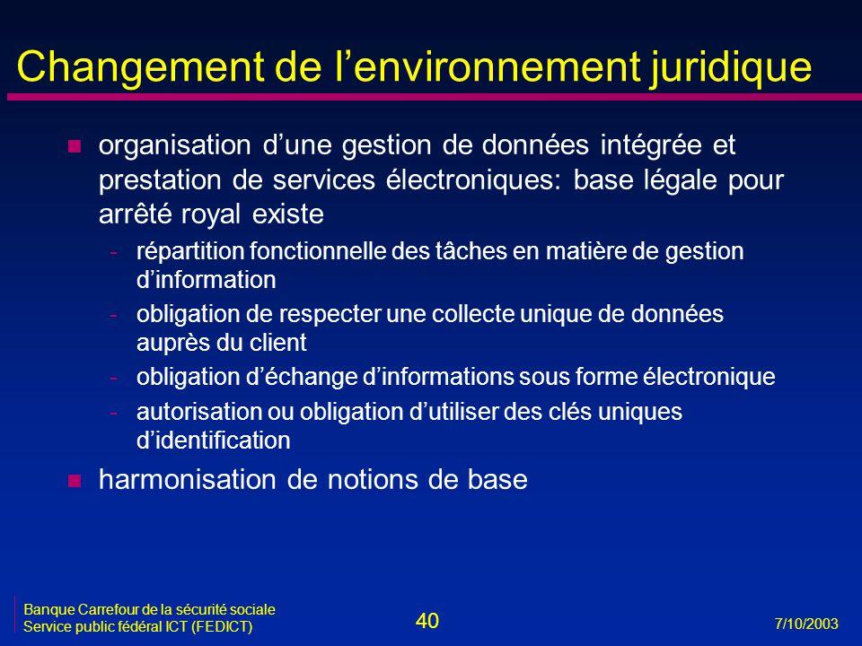 40 7/10/2003 Banque Carrefour de la sécurité sociale Service public fédéral ICT (FEDICT) Changement de l'environnement juridique n organisation d'une