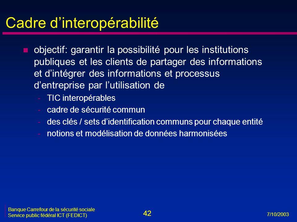 42 7/10/2003 Banque Carrefour de la sécurité sociale Service public fédéral ICT (FEDICT) Cadre d'interopérabilité n objectif: garantir la possibilité pour les institutions publiques et les clients de partager des informations et d'intégrer des informations et processus d'entreprise par l'utilisation de -TIC interopérables -cadre de sécurité commun -des clés / sets d'identification communs pour chaque entité -notions et modélisation de données harmonisées