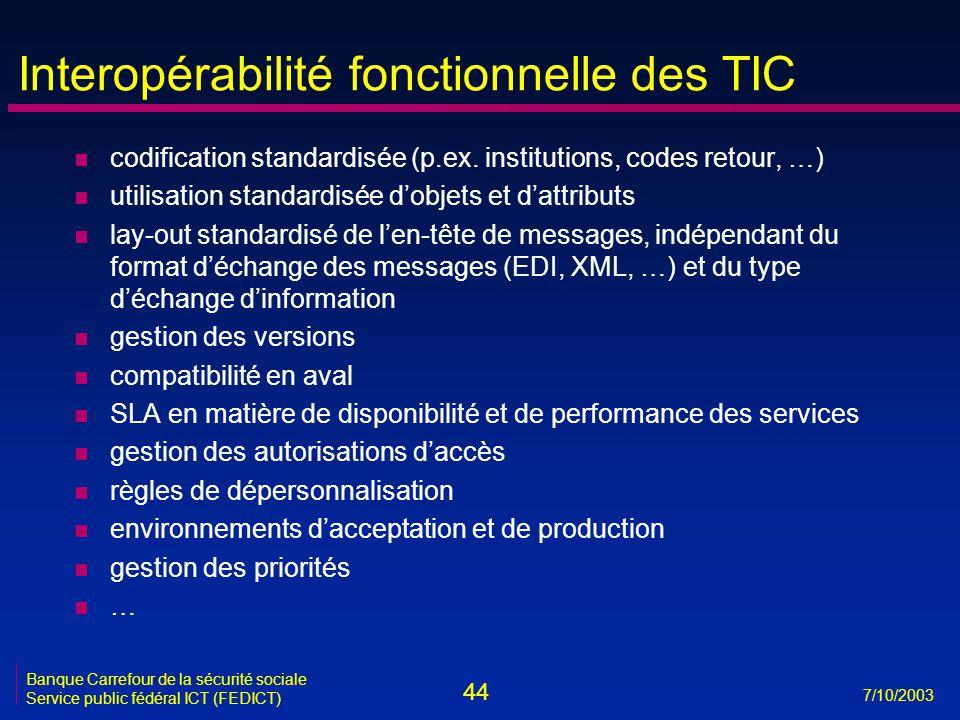 44 7/10/2003 Banque Carrefour de la sécurité sociale Service public fédéral ICT (FEDICT) Interopérabilité fonctionnelle des TIC n codification standardisée (p.ex.