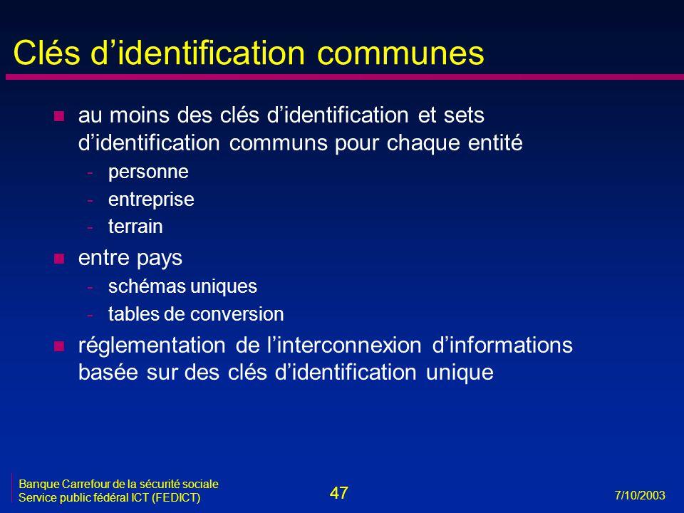 47 7/10/2003 Banque Carrefour de la sécurité sociale Service public fédéral ICT (FEDICT) Clés d'identification communes n au moins des clés d'identifi