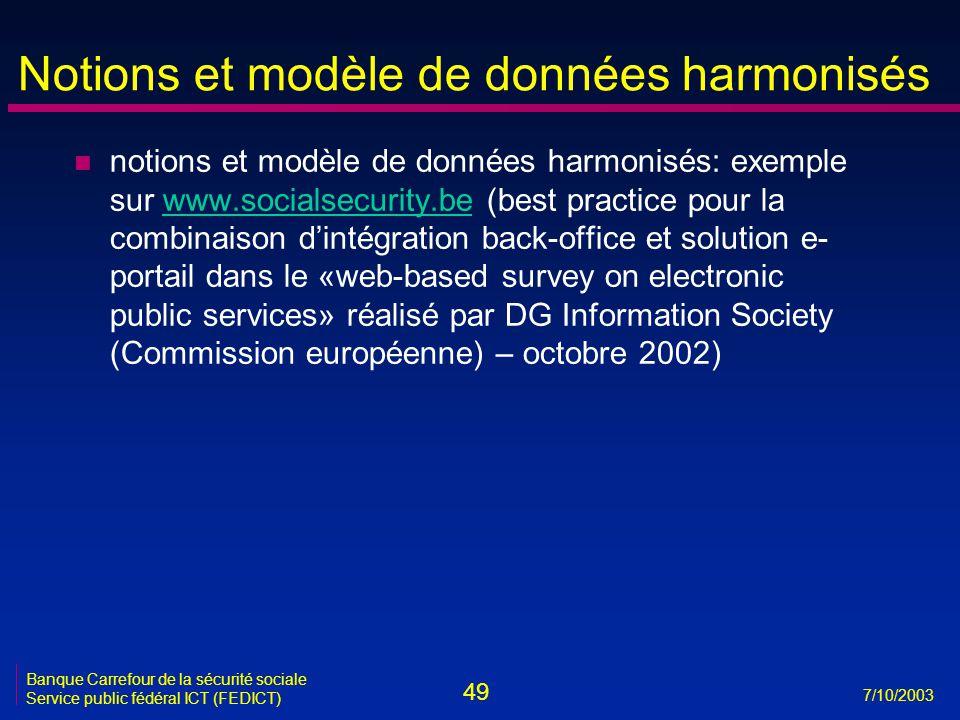 49 7/10/2003 Banque Carrefour de la sécurité sociale Service public fédéral ICT (FEDICT) Notions et modèle de données harmonisés n notions et modèle d