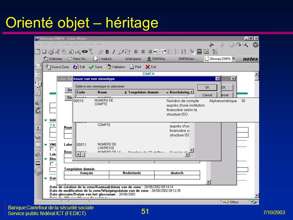 51 7/10/2003 Banque Carrefour de la sécurité sociale Service public fédéral ICT (FEDICT) Orienté objet – héritage