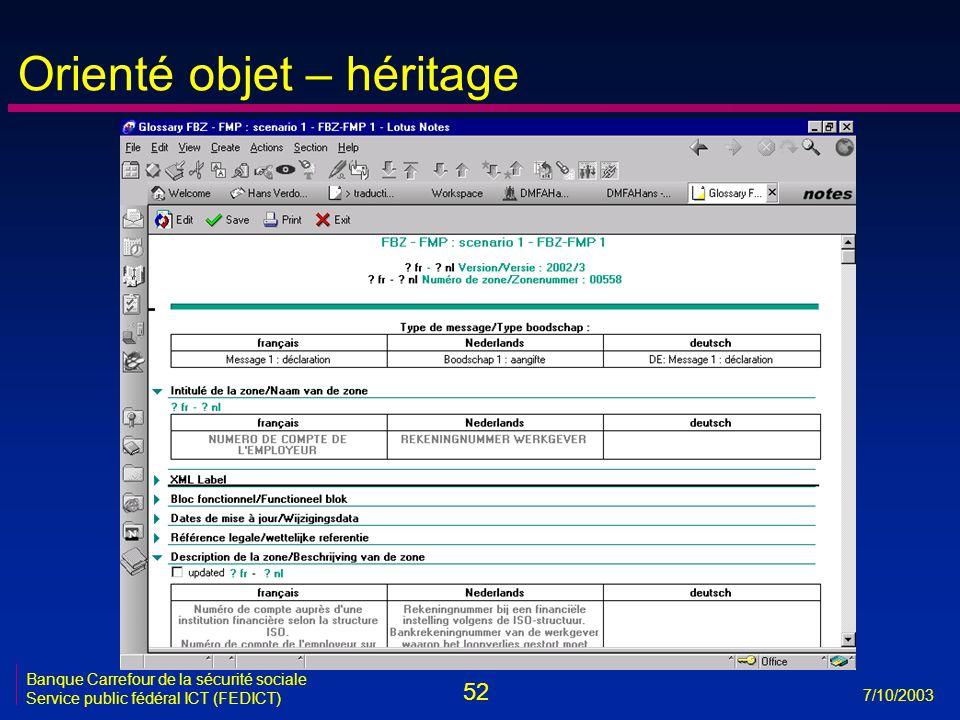 52 7/10/2003 Banque Carrefour de la sécurité sociale Service public fédéral ICT (FEDICT) Orienté objet – héritage