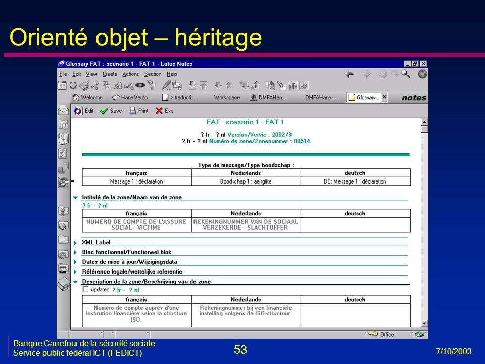 53 7/10/2003 Banque Carrefour de la sécurité sociale Service public fédéral ICT (FEDICT) Orienté objet – héritage