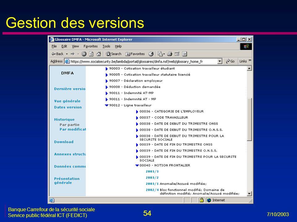 54 7/10/2003 Banque Carrefour de la sécurité sociale Service public fédéral ICT (FEDICT) Gestion des versions
