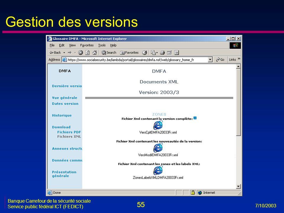 55 7/10/2003 Banque Carrefour de la sécurité sociale Service public fédéral ICT (FEDICT) Gestion des versions