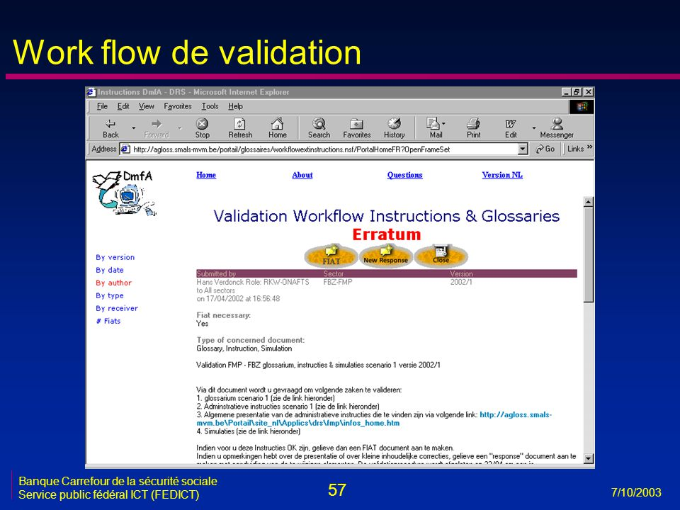 57 7/10/2003 Banque Carrefour de la sécurité sociale Service public fédéral ICT (FEDICT) Work flow de validation