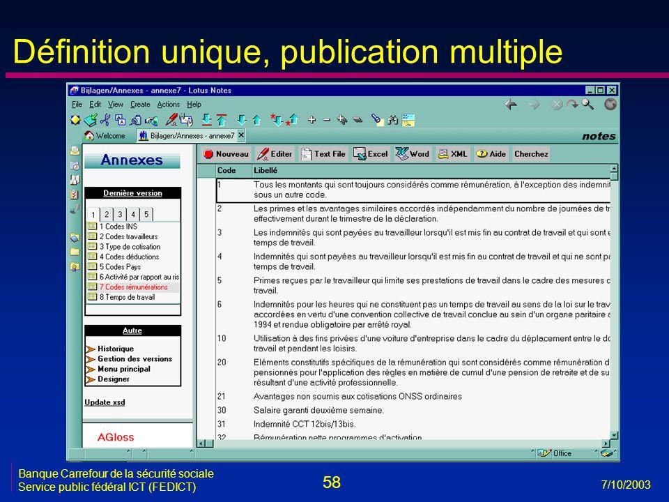 58 7/10/2003 Banque Carrefour de la sécurité sociale Service public fédéral ICT (FEDICT) Définition unique, publication multiple