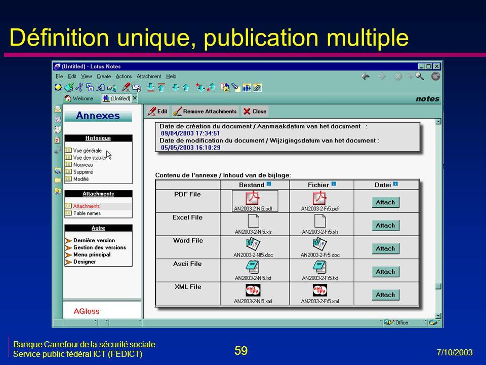 59 7/10/2003 Banque Carrefour de la sécurité sociale Service public fédéral ICT (FEDICT) Définition unique, publication multiple