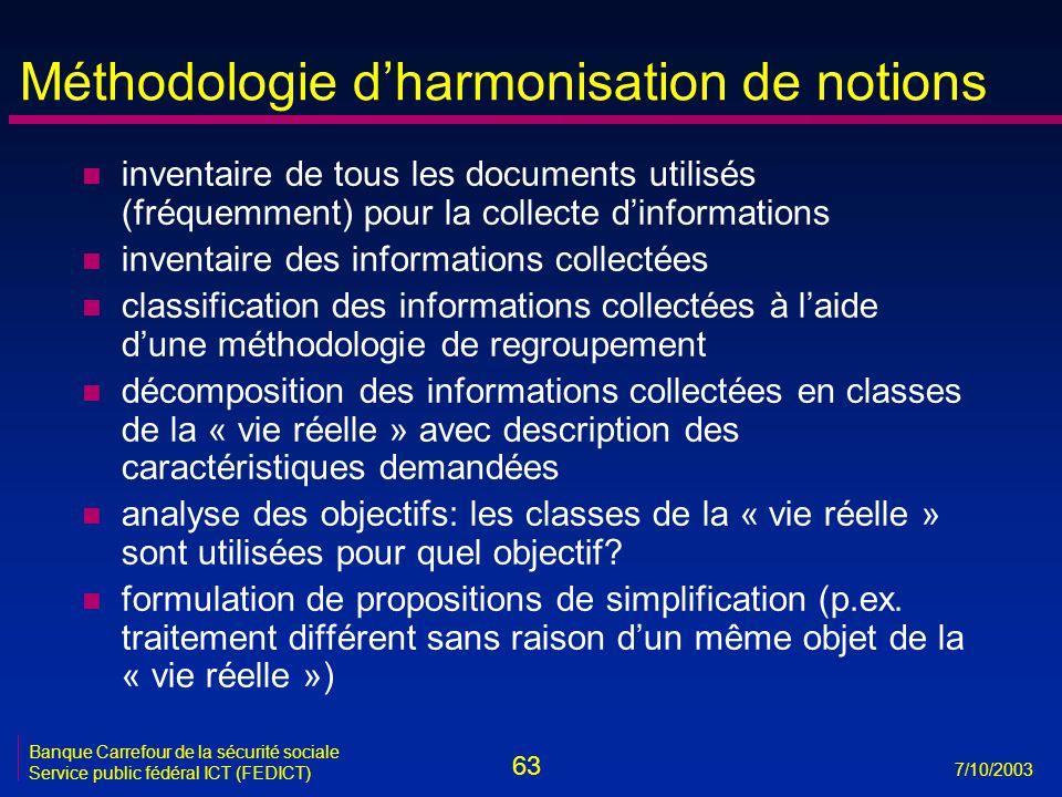 63 7/10/2003 Banque Carrefour de la sécurité sociale Service public fédéral ICT (FEDICT) Méthodologie d'harmonisation de notions n inventaire de tous