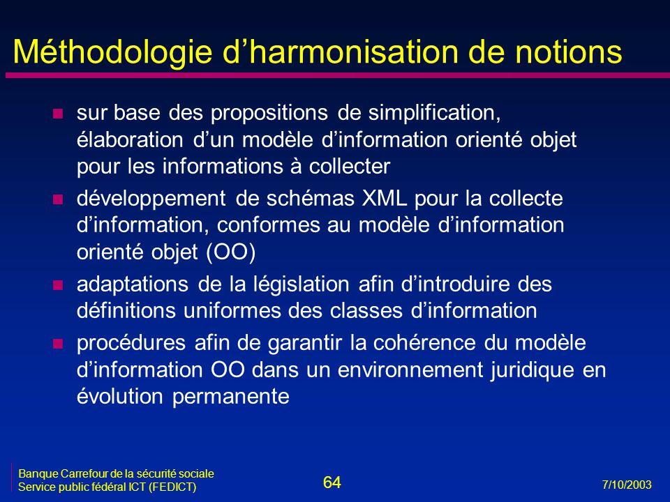 64 7/10/2003 Banque Carrefour de la sécurité sociale Service public fédéral ICT (FEDICT) Méthodologie d'harmonisation de notions n sur base des propositions de simplification, élaboration d'un modèle d'information orienté objet pour les informations à collecter n développement de schémas XML pour la collecte d'information, conformes au modèle d'information orienté objet (OO) n adaptations de la législation afin d'introduire des définitions uniformes des classes d'information n procédures afin de garantir la cohérence du modèle d'information OO dans un environnement juridique en évolution permanente